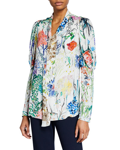 Watercolor Floral Tie-Neck Ruched Sleeve Blouse
