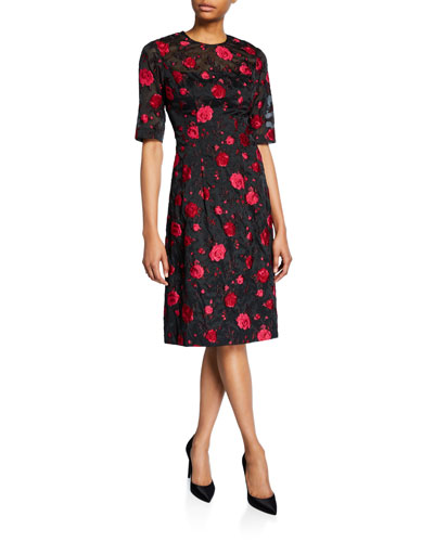 Holly Floral Embroidered Elbow-Sleeve Sheath Dress