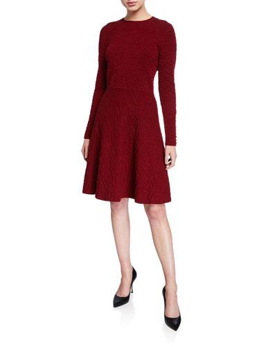 Textured Knit Long-Sleeve Full-Skirt Dress