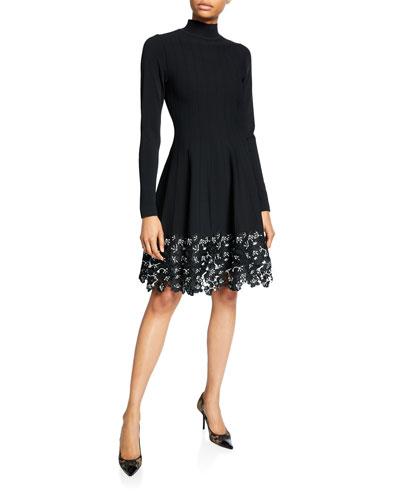 Turtleneck Lace Hem Knit Dress