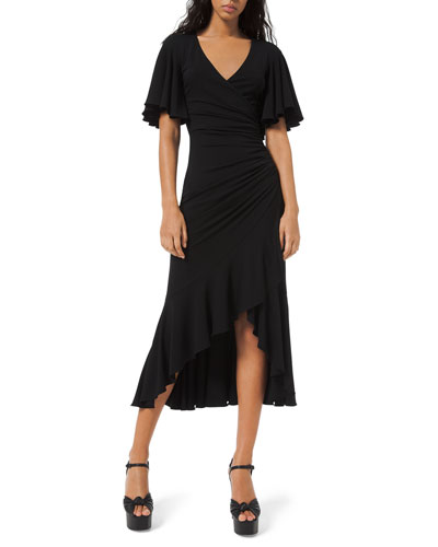 Flutter-Sleeve Wrapped Jersey Dress