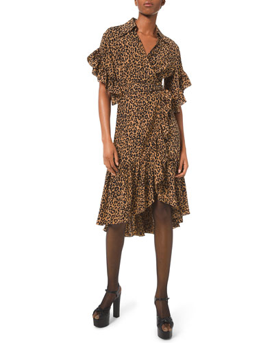 Belted Leopard-Print Ruffle-Wrap Dress