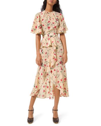Cascading Flutter Sleeve Dress