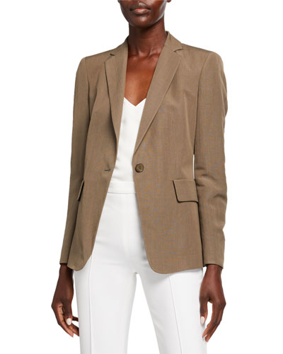Long One-Button Blazer Jacket