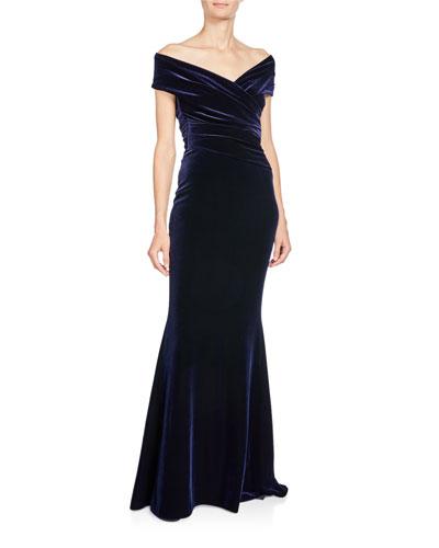 Stretch-Velvet Off-Shoulder Short-Sleeve Mermaid Gown