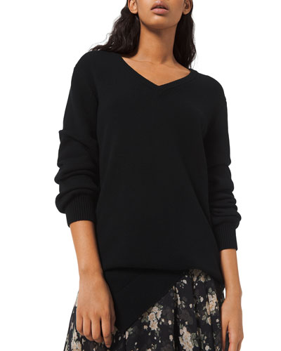 Cashmere Draped Asymmetric V-Neck Sweater