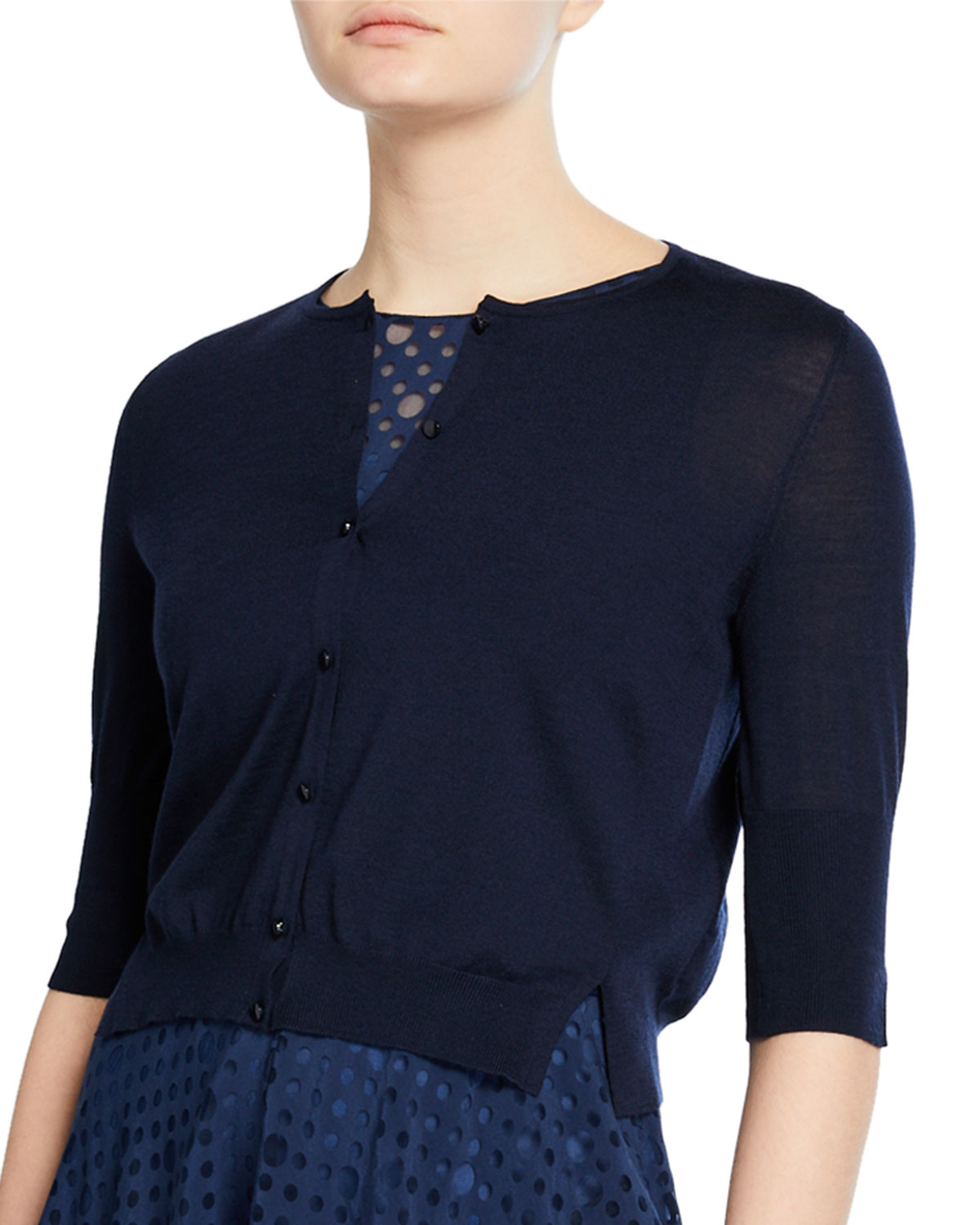 Akris Punto Tops CROPPED WOOL KNIT CARDIGAN