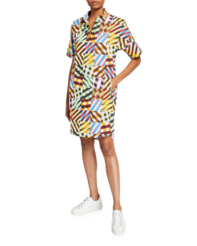 Patchwork-Print Tunic Dress