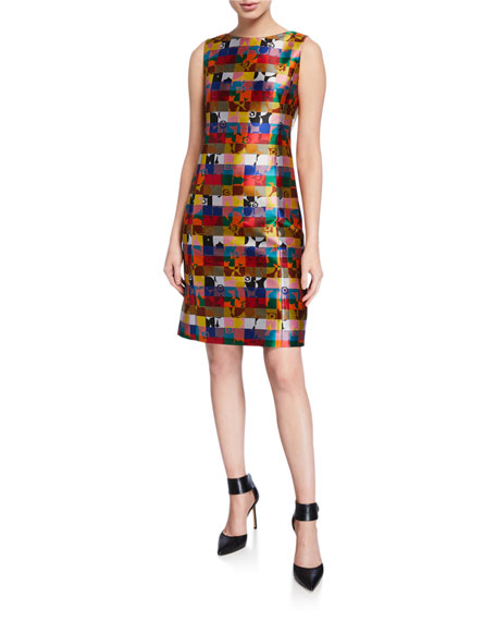 Akris punto Floral Jacquard Sleeveless Dress