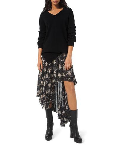 French Floral Chiffon Asymmetric Skirt