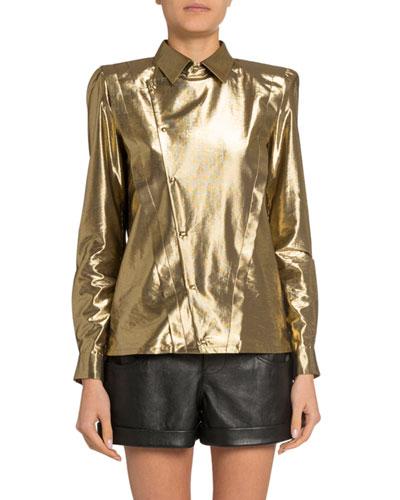 Golden Lame Asymmetric Button-Front Shirt