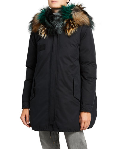 Techno-Puffer A-Line Coat with Fur Ruff