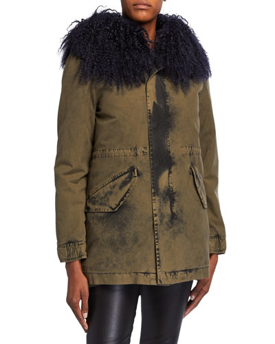 New York Midi Washed-Canvas Puffer Coat