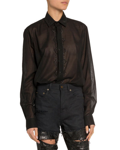 Sequined Sheer Button-Front Shirt