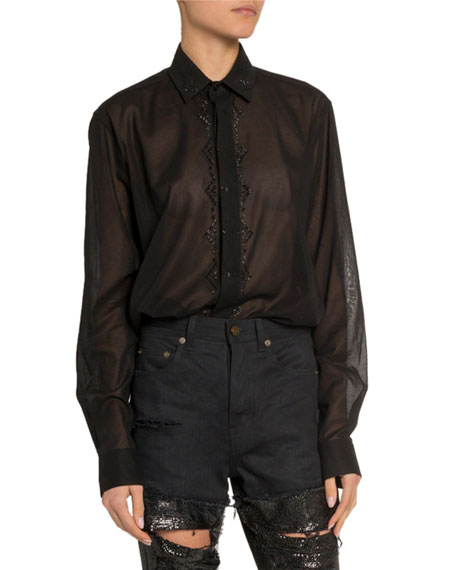 Saint Laurent Sequined Sheer Button-Front Shirt