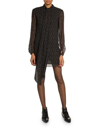 Star-Print Chiffon Tie-Neck Mini Dress