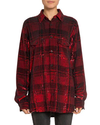 Shimmer Plaid Boyfriend Shirt