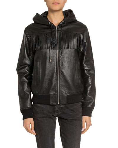 Leather Fringe-Yoke Zip-Front Bomber Jacket