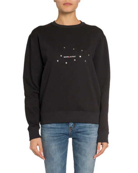 Saint Laurent Starred Logo Graphic Sweatshirt, Black/Silver