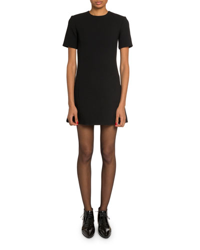 7f18205a Quick Look. Saint Laurent · Short-Sleeve Wool Crepe Mini Dress. Available  in Black