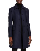 Burberry Fitted Belted Wool Coat