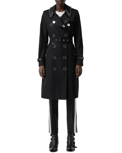 Kensington Punk-Ring Trim Cotton Trench Coat
