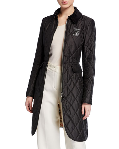 Equestrian Quilted Zip-Front Jacket, Black