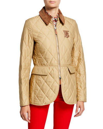 Equestrian Quilted Zip-Front Jacket