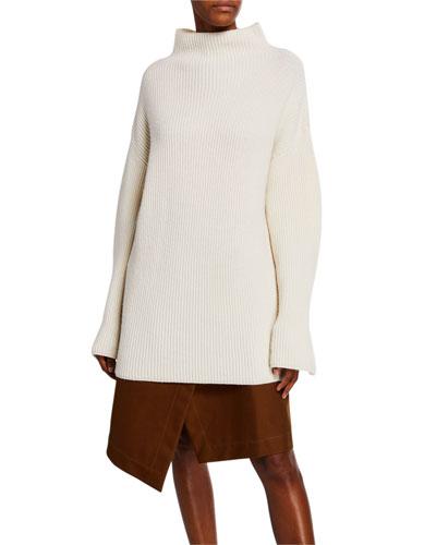 Ribbed Mock-Neck Turtleneck Sweater