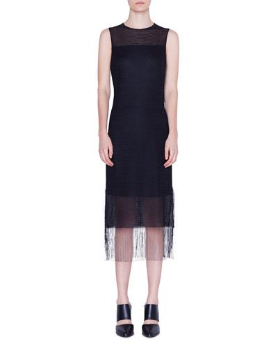 Sleeveless Mesh Fringe-Hem Dress