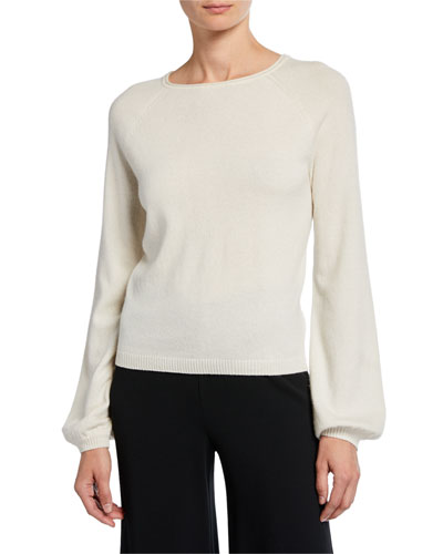 Boat-Neck Long-Sleeve Cashmere Poet Sweater