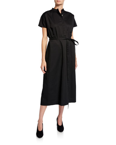 Button-Front Cap-Sleeve Cotton Poplin Midi Dress
