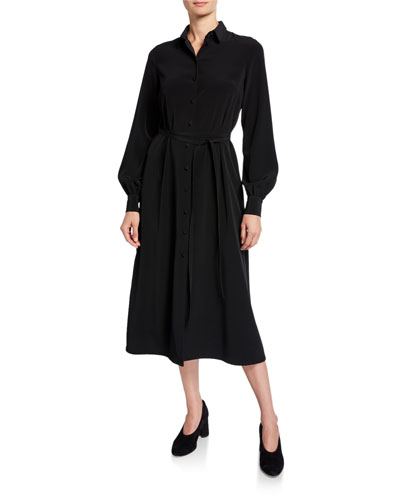 fad4328db Belted Long Sleeve Shirt Dress | Neiman Marcus
