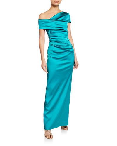 Moa Asymmetric One-Shoulder Evening Gown, Champagne