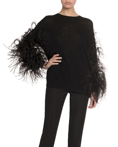 Feathered Wool-Cashmere Sweater