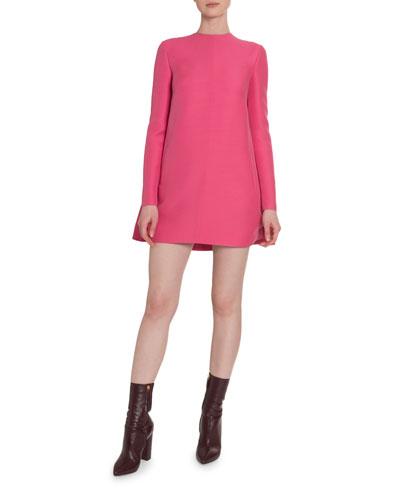 Crepe Couture Draped-Back Shift Dress
