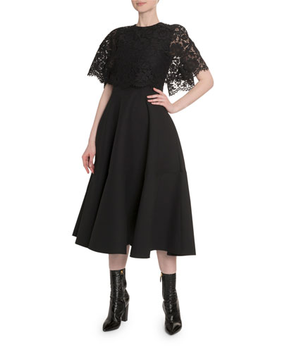 Heavy Lace Cape 1/2-Sleeve Dress