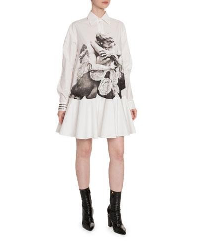 Lovers-Print Cotton Button-Front Shirtdress