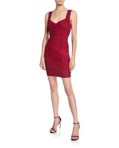 Ruched Tulle V-Neck Bandage Dress
