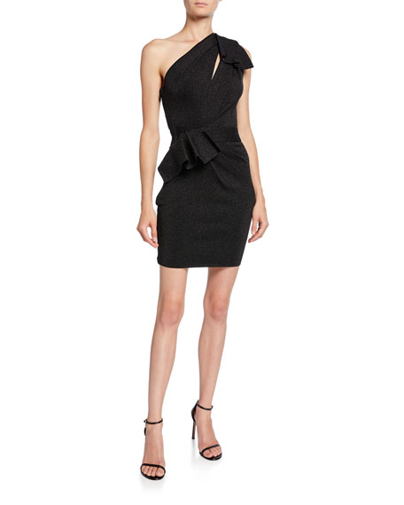 Herve Leger Double-Face Metallic One-Shoulder Dress