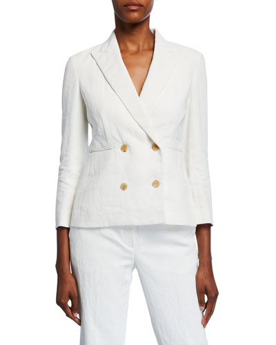 Jadu Linen Double-Breasted Blazer
