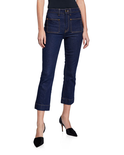 Raquel Patch-Pocket Crop Flare Jeans, Blue