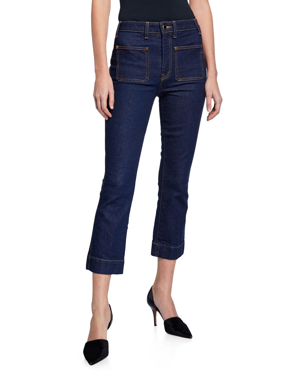 Raquel Patch-Pocket Crop Flare Jeans