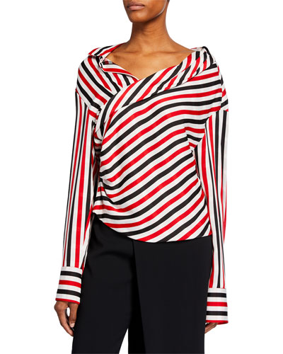 Stellar Striped Draped Blouse