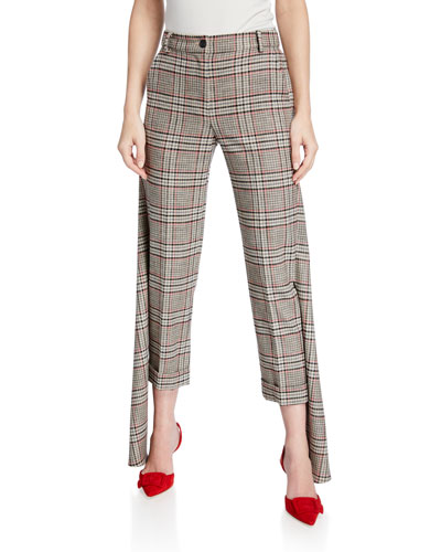 Smythe Plaid Slim Pants with Panel Detail