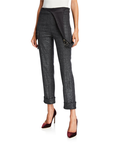 Delerey Pants with Asymmetric Overalls-Detail