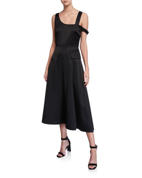 Partow Nia Cold-Shoulder Satin Midi Dress