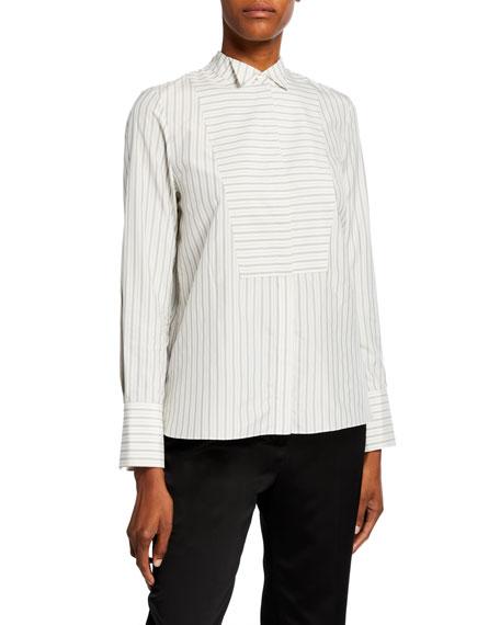 Partow Carter Striped Tux-Front Shirt