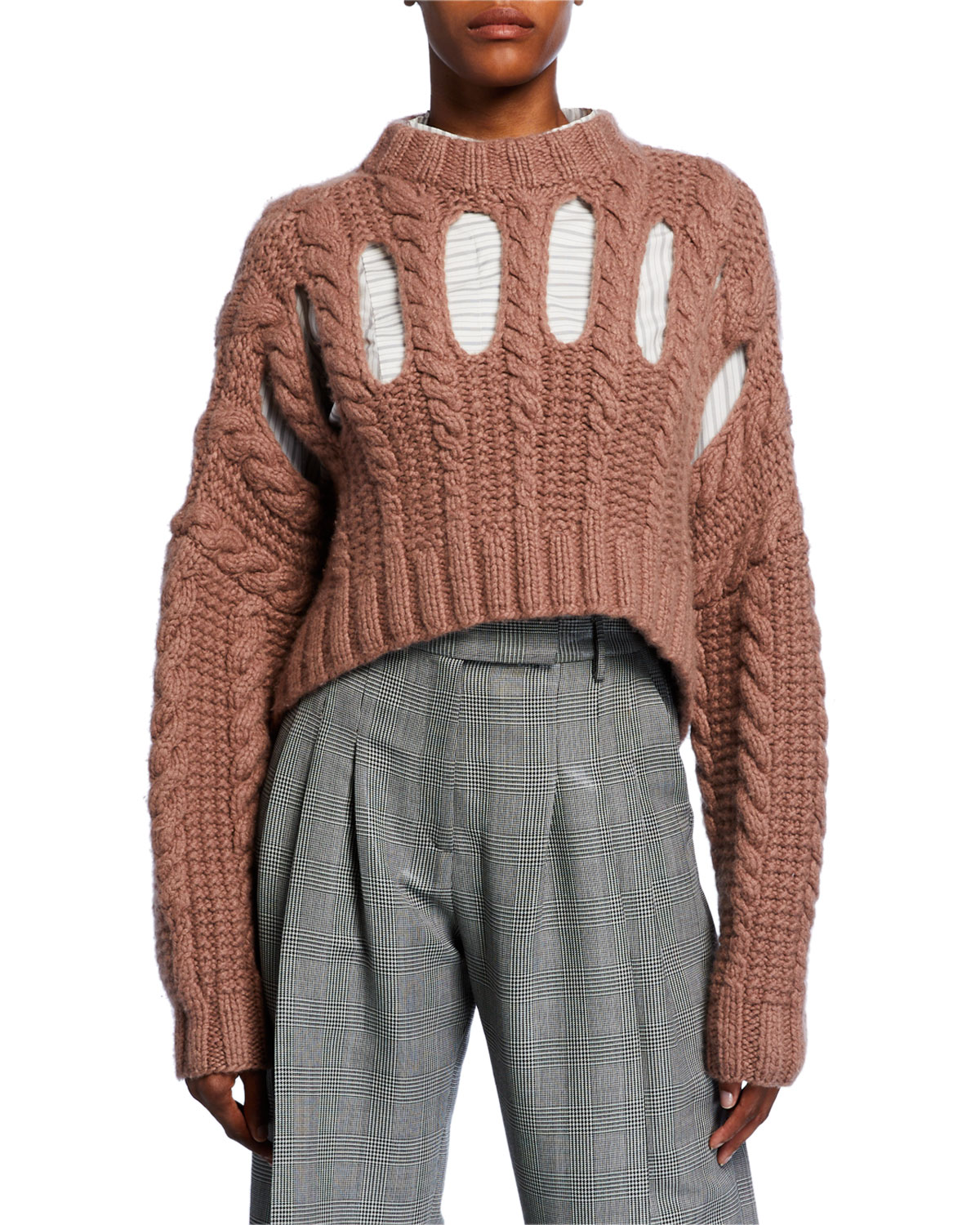 Partow Knits INGA CASHMERE CUTOUT CABLE-KNIT SWEATER