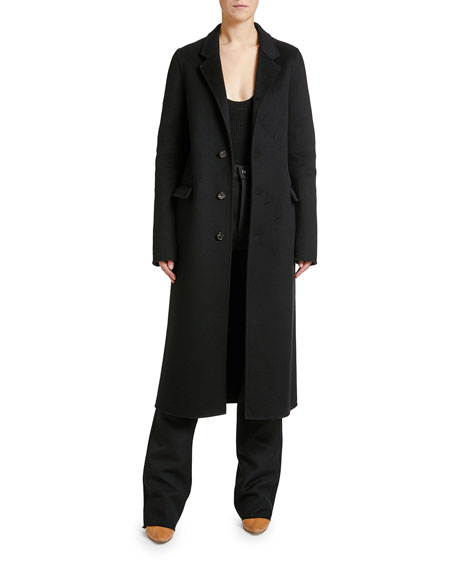 Bottega Veneta Double-Wool Button-Front Long Coat